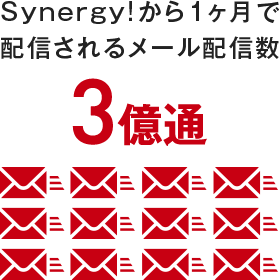 Synergy!から1ヶ月で配信されるメール配信数 3億通